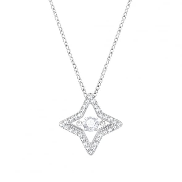 Swarovski Rhodium White Crystal Sparkling Dance Star Necklace