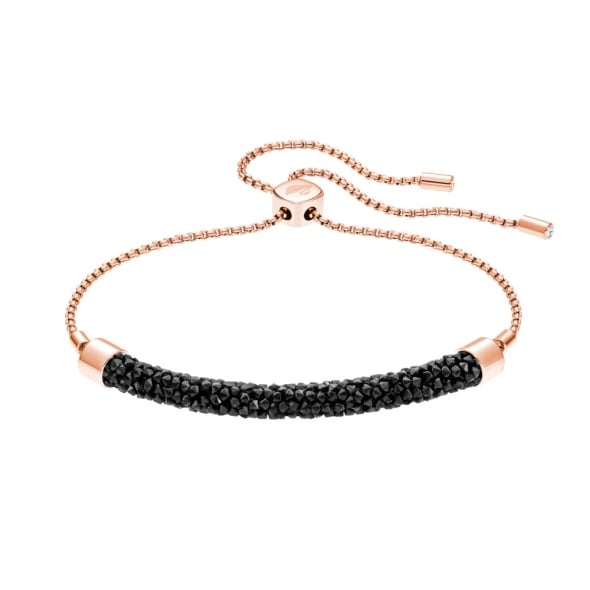Swarovski Rose Gold Black Crystal Long Beach Bracelet