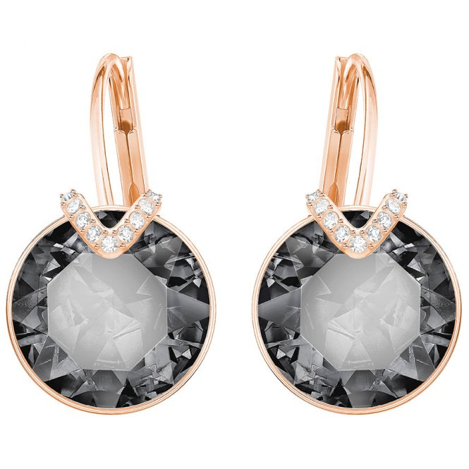 Swarovski Rose Gold Grey Crystal Bella V Earrings