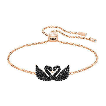 Swarovski Rose Gold Black Crystal Swan Double Bracelet