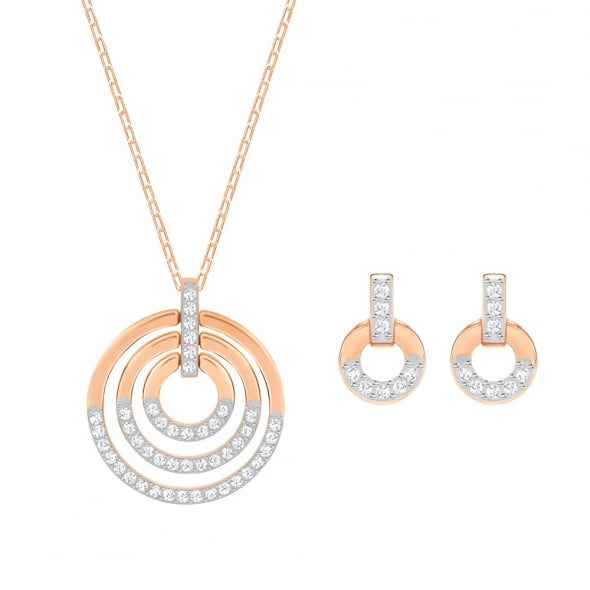 Swarovski Rose Gold White Crystal Circle Set