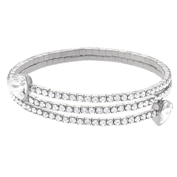 Swarovski White Crystal Twisty Triangle Bracelet 5086031