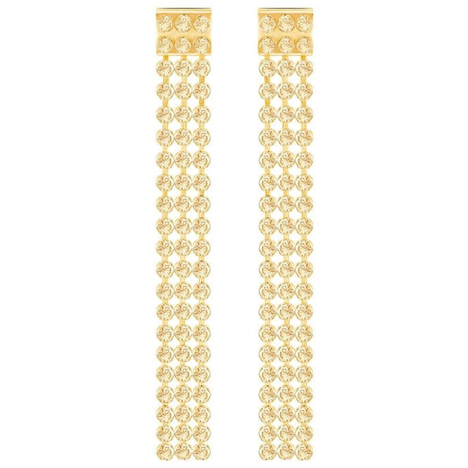 Swarovski Yellow Gold Golden Crystal Fit Long Earrings