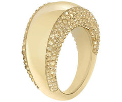 Swarovski Yellow Gold Golden Crystal Pebble Ring Size 55 D
