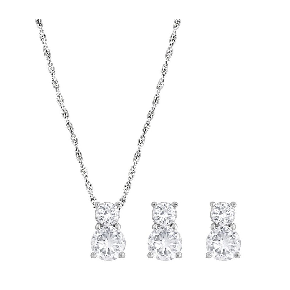 Swarvoski Rhodium White Crystal Brilliance Set