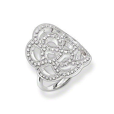 Thomas Sabo Ring Sterling Silver Black Zirconia Flower Cutout D