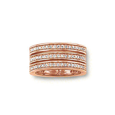 Thomas Sabo Ring Triple Row 18ct Rose Gold D