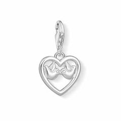 Thomas Sabo Charm Club Sterling Silver White Zirconia Heart with Doves Charm D