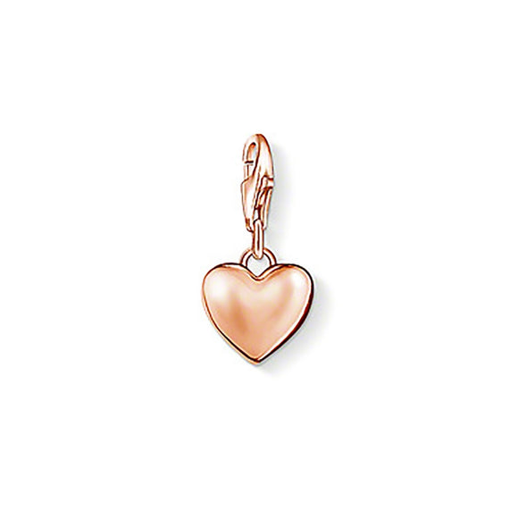 Thomas Sabo Charm Club Sterling Silver 18ct Rose Gold Heart Charm 0926-415-12