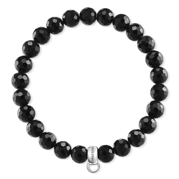 Thomas Sabo Charm Club Sterling Silver Black Faceted Obsidian Charm Bracelet 15.5cm X0220-840-11-L15,5