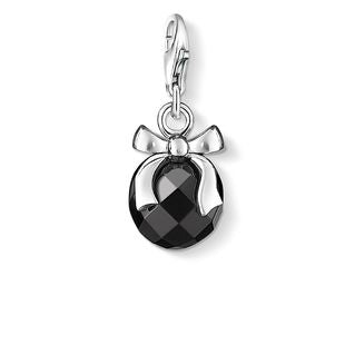 Thomas Sabo Charm Club Silver Black Obsidian Stone With Bow Charm
