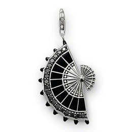 Thomas Sabo Charm Club Sterling Silver Black Zirconia Fan Charm T0300-041-11