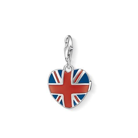 Thomas Sabo Charm Club Sterling Silver Enamel Union Jack Heart Charm D