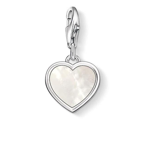 Thomas Sabo Charm Club Sterling Silver Mother of Pearl Heart Charm, 0920-029-14.