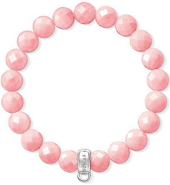Thomas Sabo Charm Club Sterling Silver Pink Bamboo Coral Charm Bracelet, X0209-590-9-L17.5.