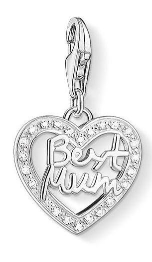 Thomas Sabo Charm Club Sterling Silver White Zirconia Best Mum Heart Charm