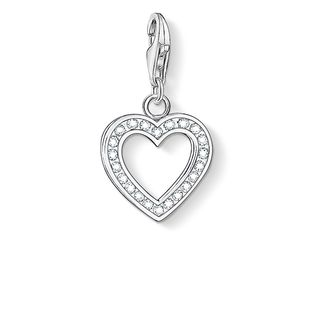 Thomas Sabo Charm Club Sterling Silver White Zirconia Heart Charm 0018-051-14