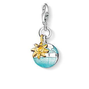 Thomas Sabo Charm Club Sterling Silver Yellow Gold Globe Charm