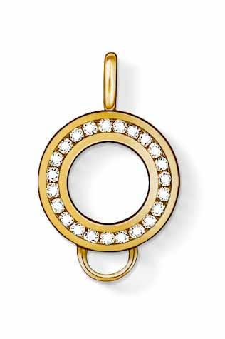 Thomas Sabo Charm Club Yellow Gold White Zirconia Charm Carrier X0185-414-14