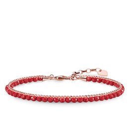 Thomas Sabo Glam And Soul Rose Gold Coral Red Bracelet A1717-109-10-L19V