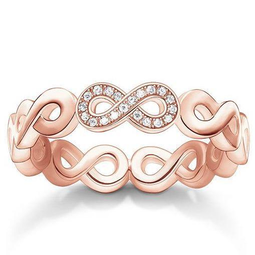 Thomas Sabo Glam And Soul Rose Gold White Zirconia Diamond Infinity Ring D_TR0003-923-14