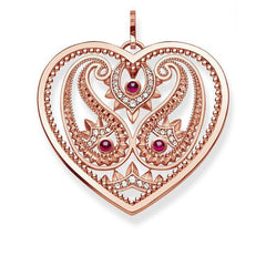 Thomas Sabo Glam And Soul Rose Gold Corundum Paisley Design Heart Pendant D