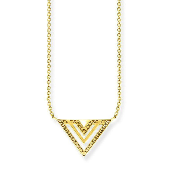 Thomas Sabo Glam And Soul Sterling Silver 18ct Yellow Gold Africa Triangle Necklace KE1568-413-39-L45V