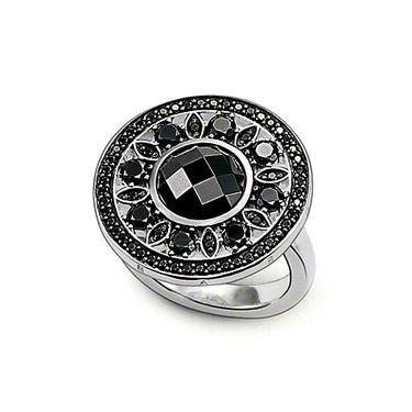 Thomas Sabo Glam And Soul Sterling Silver Black Zirconia Disc Ring D
