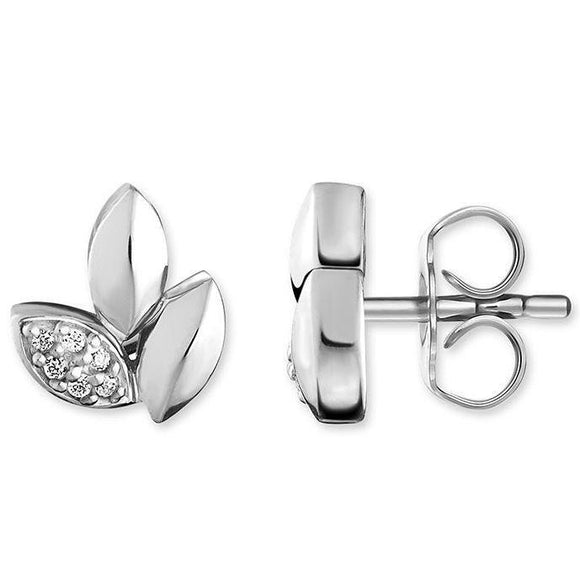 Thomas Sabo Glam And Soul Sterling Silver Diamond Leaves Studs D_H0006-725-21