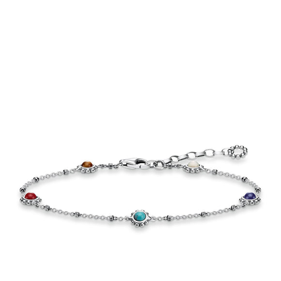 Thomas Sabo Glam And Soul Sterling Silver Ethnic Colourful Bracelet A1671-147-7-L19V