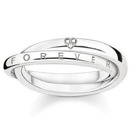 Thomas Sabo Glam And Soul Sterling Silver White Diamond Together Forever Heart Ring D_TR0017-725-14
