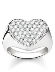 e5f8ad72087 Thomas Sabo Glam And Soul Sterling Silver White Zirconia Heart Signet Ring D