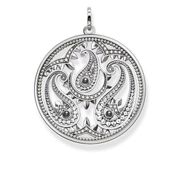 Thomas Sabo Glam And Soul Sterling Silver White Zirconia Hematite Paisley Design Pendant PE728-645-24