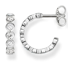 Thomas Sabo Glam And Soul Sterling Silver White Zirconia Hinged Hoops D CR595-051-14