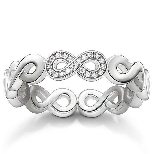 Thomas Sabo Glam And Soul Sterling Silver White Zirconia Infinity Ring D_TR0003-725-14