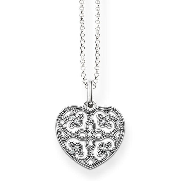 Thomas Sabo Glam And Soul Sterling Silver Zirconia Ornament Heart Pendant KE1557-051-14-L45v