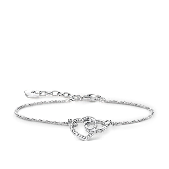 Thomas Sabo Glam And Soul Sterling Silver Zirconia Together Forever Heart Bracelet, A1648-051-14-L19V.