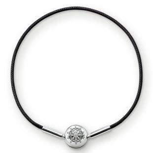 Thomas Sabo Karma Beads Sterling Silver Black Leather Bracelet 38cm