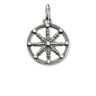 Thomas Sabo Karma Beads Sterling Silver White Zirconia Small Karma Wheel Pendant