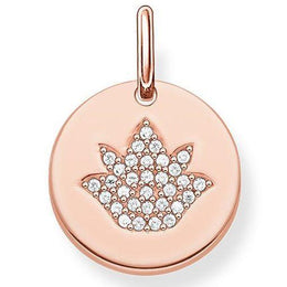 Thomas Sabo Love Bridge Sterling Silver 18ct Rose Gold White Zirconia Lotus Flower Disc LBPE0006-416-14