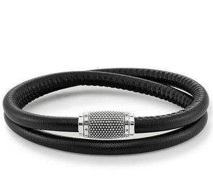 Thomas Sabo Rebel At Heart Sterling Silver Black Leather Bracelet UB0008-825-11-L40