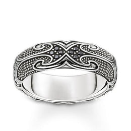 Thomas Sabo Rebel At Heart Sterling Silver Black Zirconia Maori Ring TR2100-643-11