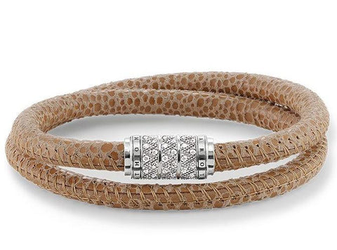 Thomas Sabo Rebel At Heart Silver Brown Leather Zirconia Bracelet D