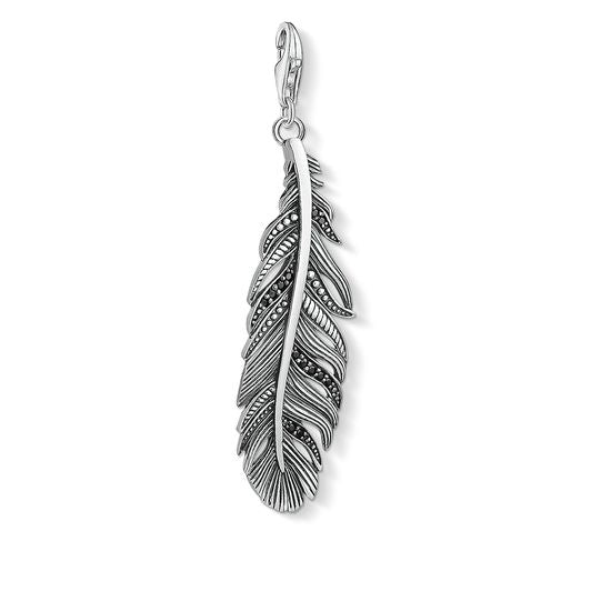 Thomas Sabo Sterling Silver Black Zirconia Ethnic Feather Pendant Y0022-643-11