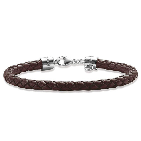 Thomas Sabo Sterling Silver Brown Woven Leather Bracelet D