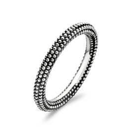Ti Sento Sterling Silver Oxidised Beaded Ring D, 1833SI.