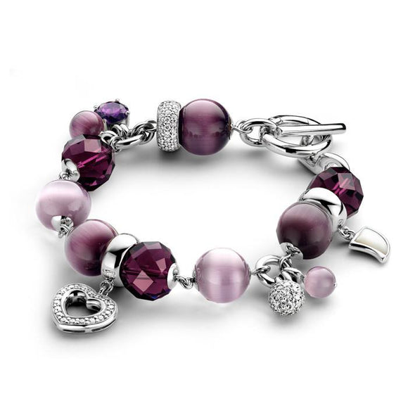 Ti Sento Sterling Silver Beads And Charms Bracelet 2401AP