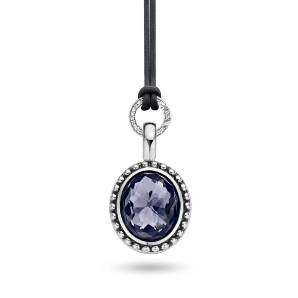 Ti Sento Sterling Silver Blue Crystal Oval Pendant 6664GM