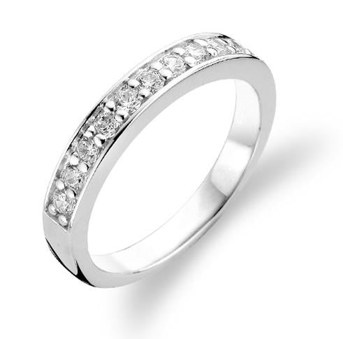 Ti Sento Sterling Silver Cubic Zirconia Channel Set Ring 1151ZI
