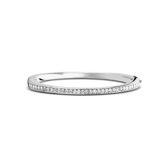 Ti Sento Sterling Silver Cubic Zirconia Hinged Bangle 2298ZI